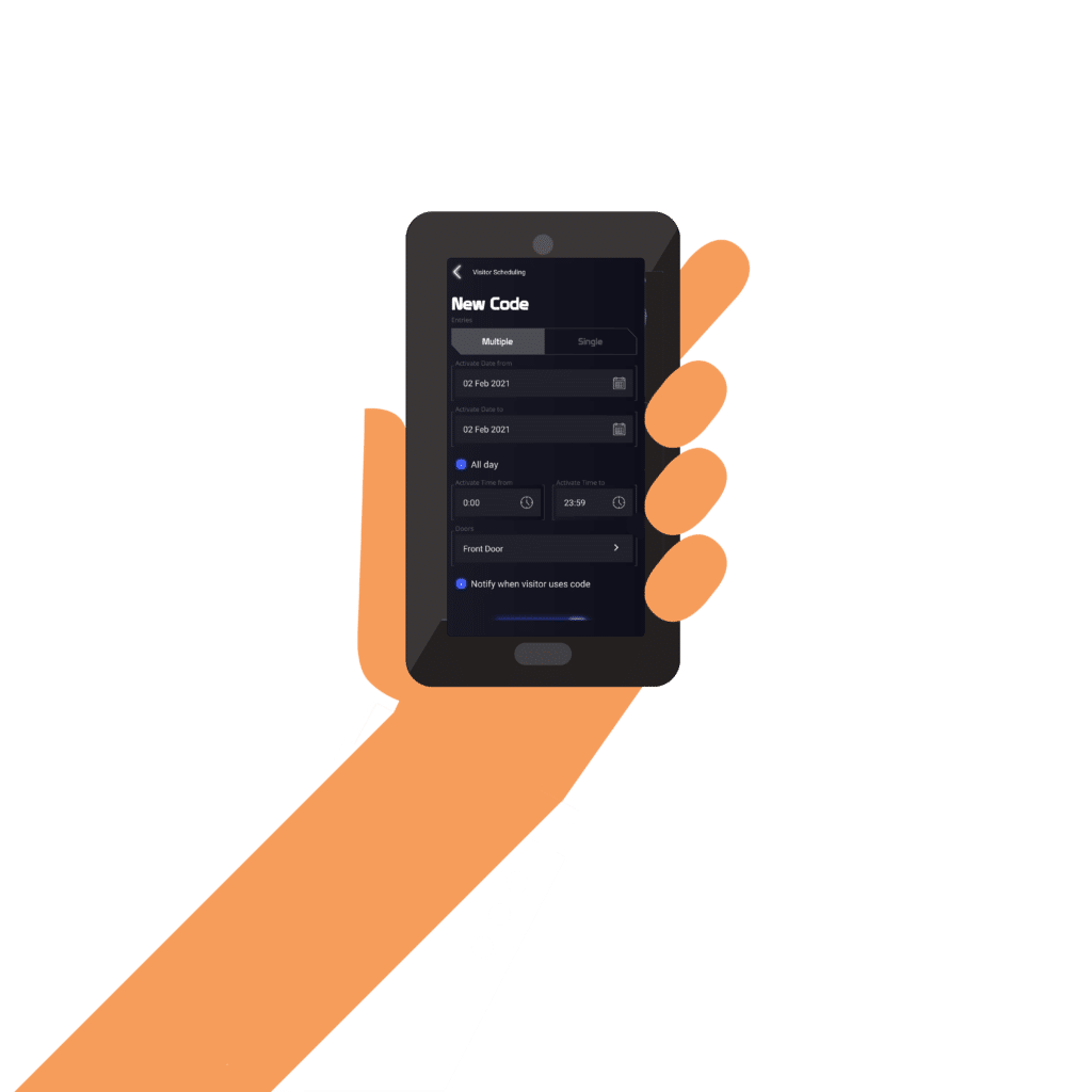 visitor scheduling in the mobile app
